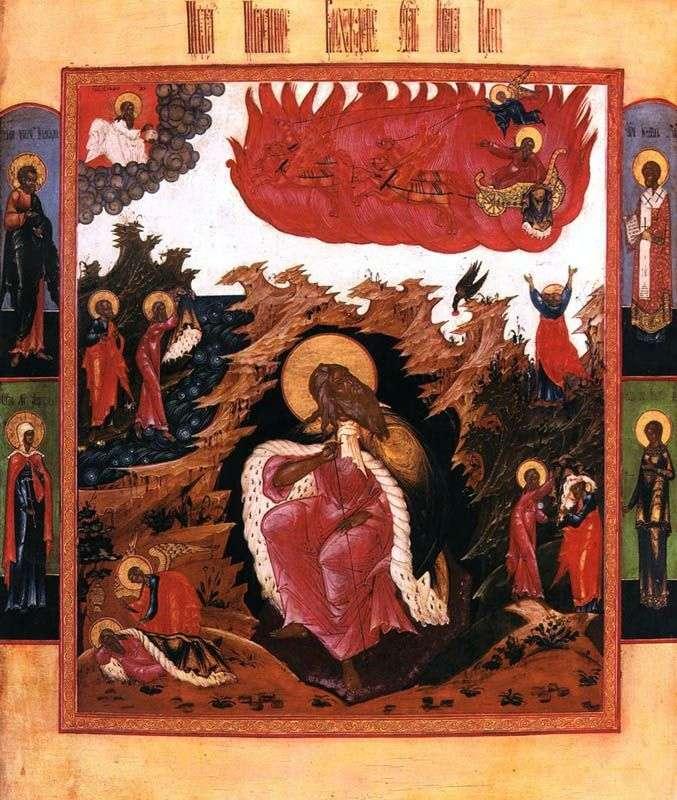 Elías el profeta en el desierto con escenas de la vida y ascenso ardiente