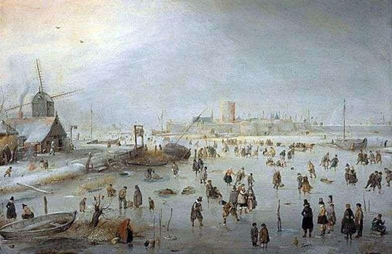 En el hielo fuera de la ciudad   Hendrik Averkamp
