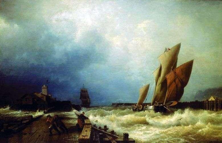 Entrada de un barco pesquero a una tormenta en el puerto de Saint Valery en Co.   Alexei Bogolyubov