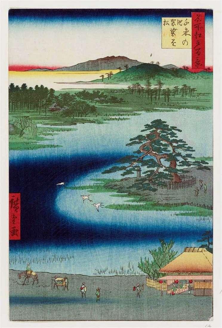 Estanque Senzoku no No, pino Casacakemaiu   Utagawa Hiroshige