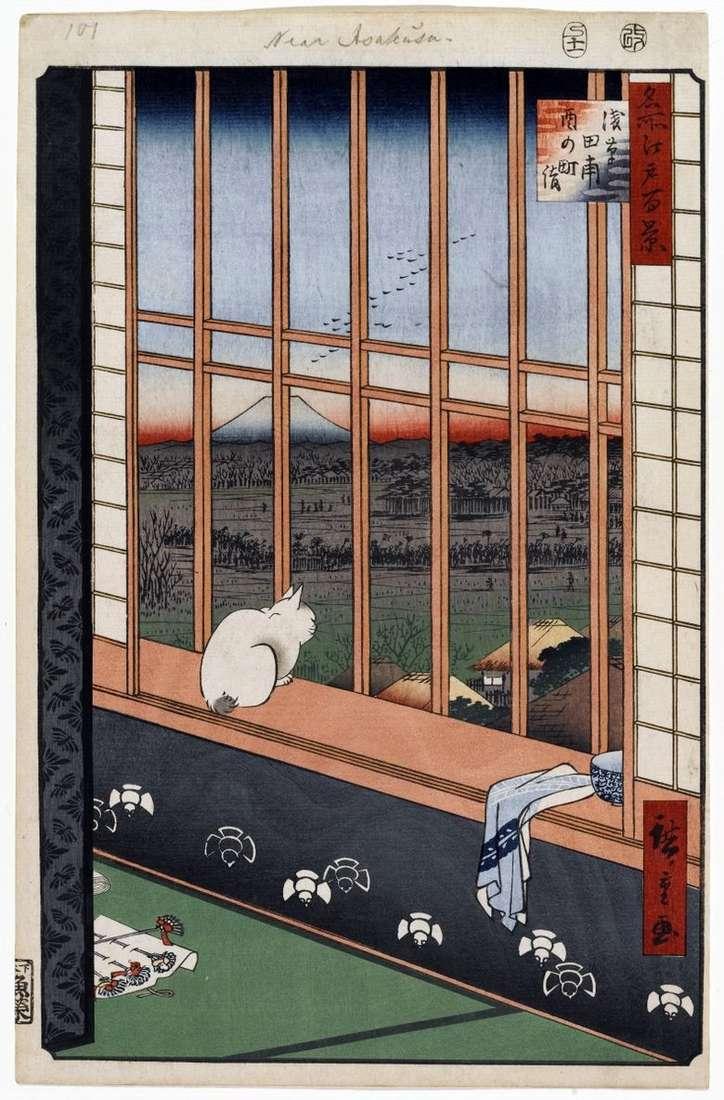 Festival de Torinomati en los campos de arroz de Asakus   Utagawa Hiroshige