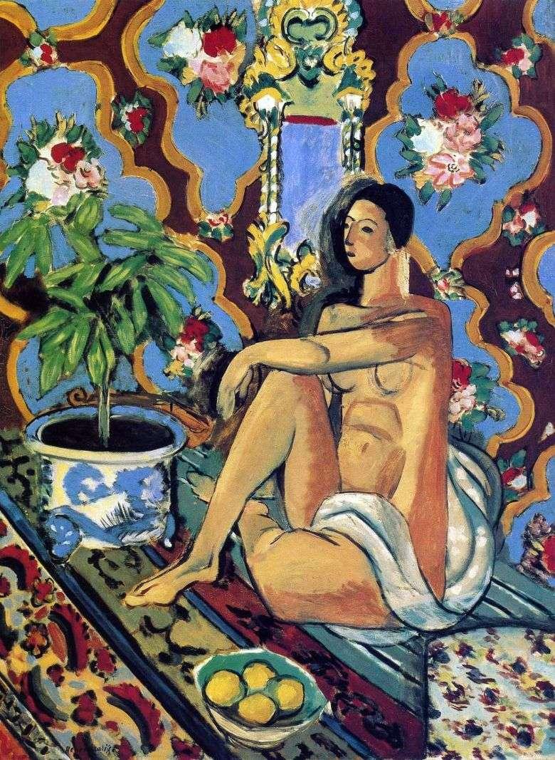 Figura decorativa en el fondo ornamental   Henri Matisse