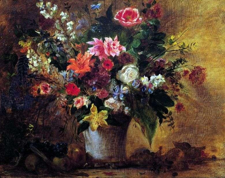 Flores y Frutas   Eugene Delacroix