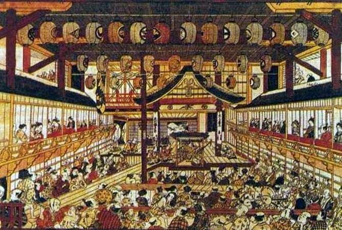 Gran grabado en perspectiva con la imagen de todas las estrellas del teatro   Okumura Masanobu