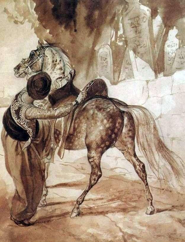 Griego con un caballo   Karl Bryullov