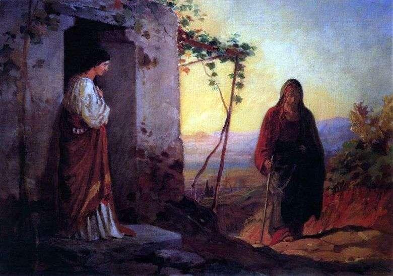 María, la hermana de Lázaro, se encuentra con Jesucristo y llega a su casa   Nikolai Ge