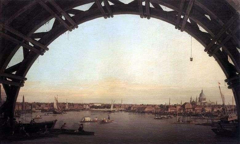 Vista de Londres a través del arco del puente de Westminster   Antonio Canaletto