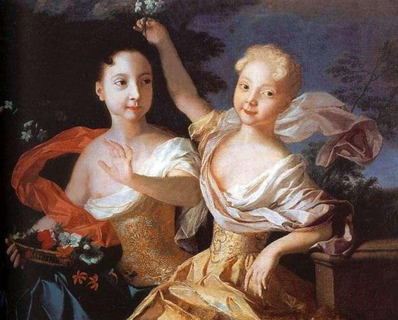 Retrato de Tsarevna Anna Petrovna y Elizaveta Petrovna   Louis Caravaque