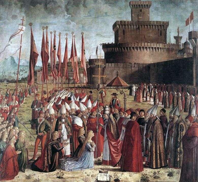 Encuentro de Santa Úrsula y peregrinos con el Papa Ciriaco   Vittore Carpaccio