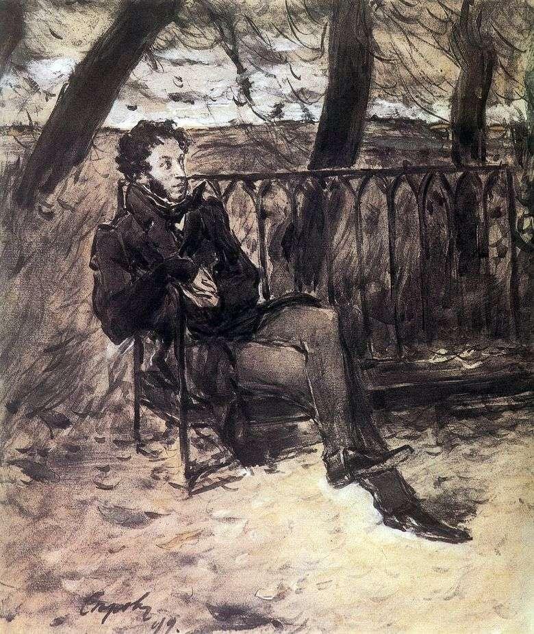 A. S. Pushkin en un banco de jardín   Valentin Serov