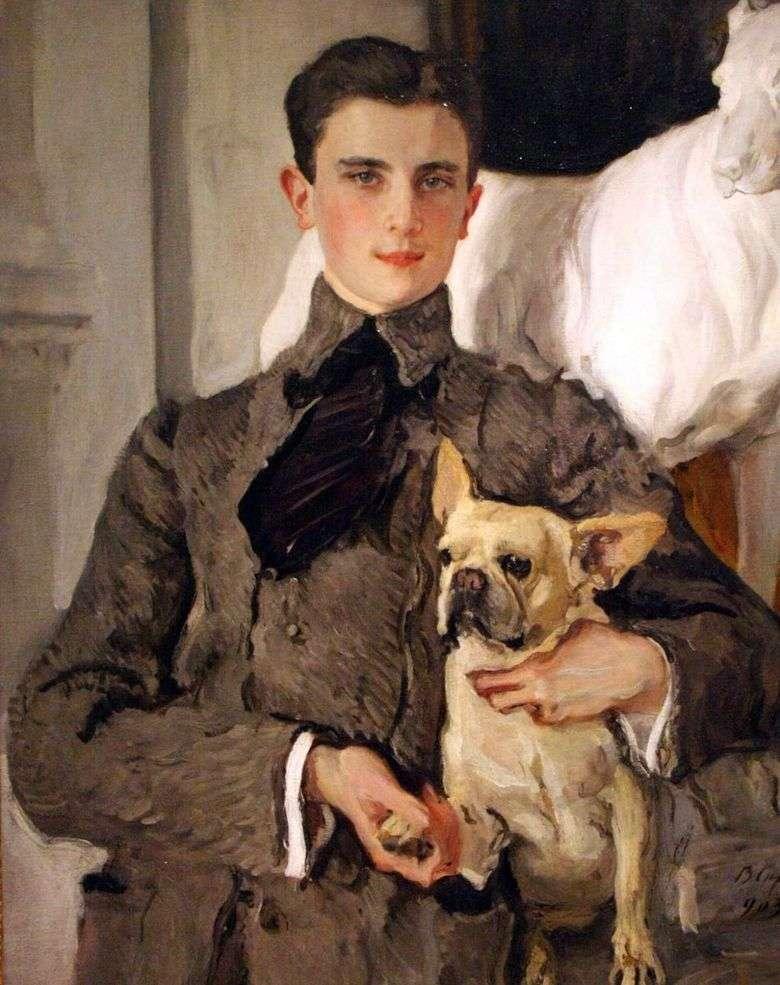 Retrato del Conde F. F. Sumarokov Elston, luego Príncipe Yusupov, con un perro   Valentin Serov