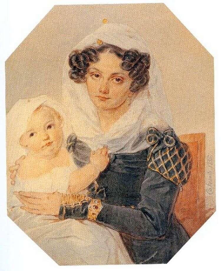 Retrato de Volkonskaya Maria Nikolaevna con su hijo Nikolai   Peter Sokolov