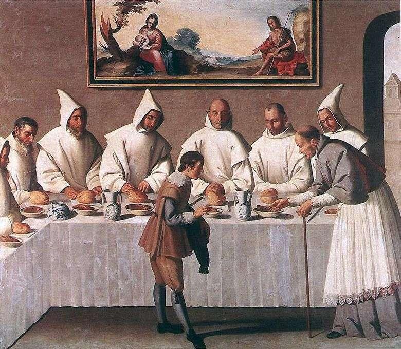 Milagro de sv. Hugo Grenoble en el refectorio del monasterio   Francisco de Zurbaran