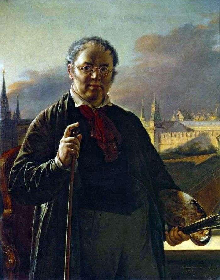 Autorretrato con pinceles en el fondo del Kremlin de Moscú   Vasily Tropinin