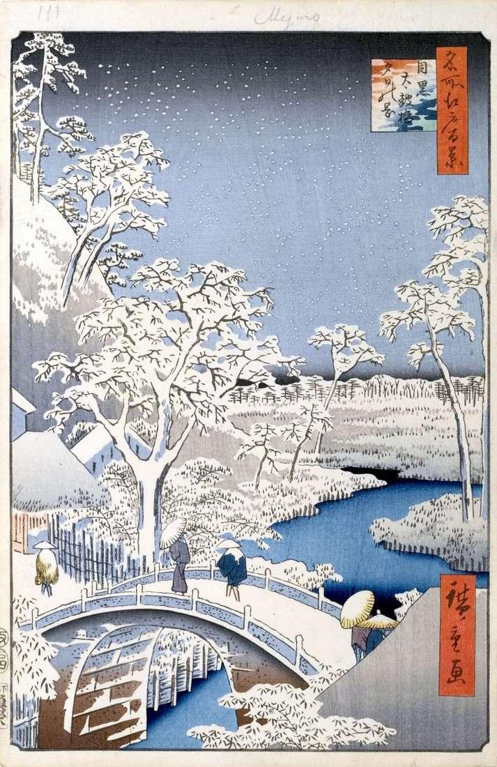 La colina Yuhinoka y el puente Taikobashi en Meguro   Utagawa Hiroshige