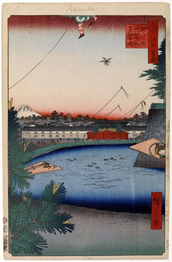 Localidad de Hibiya en la región de Soto Sakurada del barrio de Hiroshige de Yamashita te Utagawa