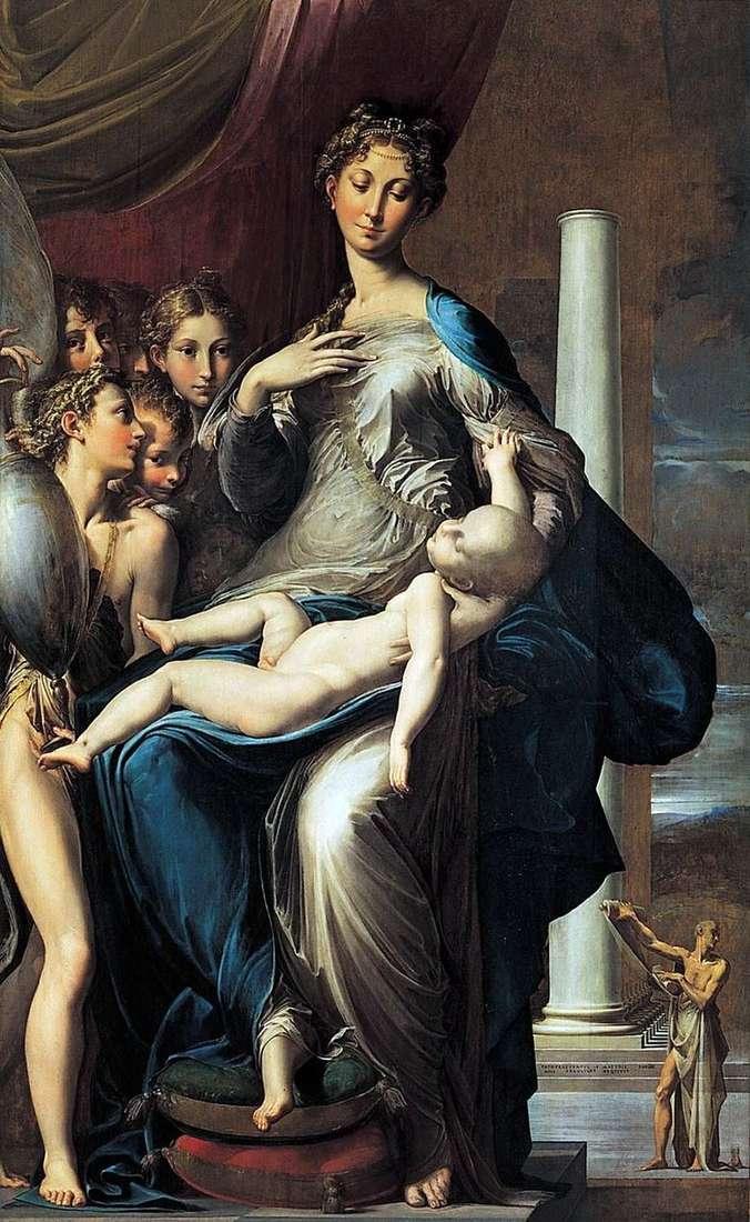 Madonna y niño con ángeles y san Jerome   Francesco Parmigianino