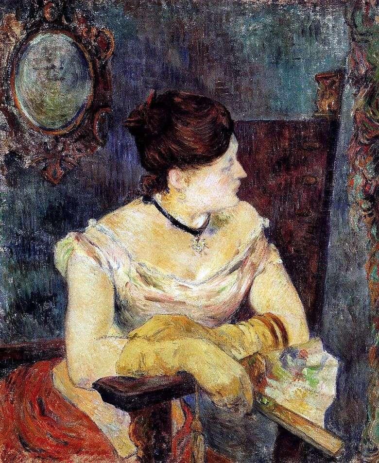 Mette Gauguin en un vestido de noche   Paul Gauguin