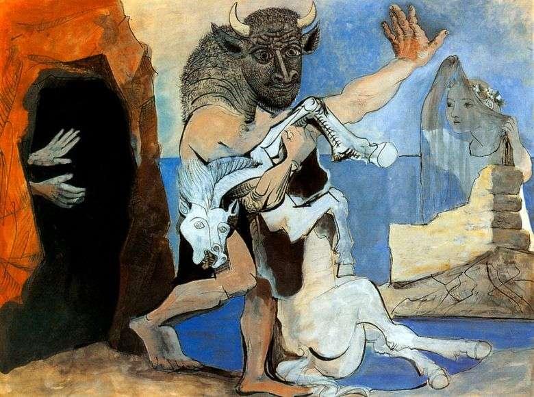 Minotauro con un caballo muerto frente a la cueva   Pablo Picasso