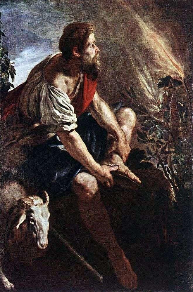 Moisés frente a una zarza ardiente   Domenico Fety