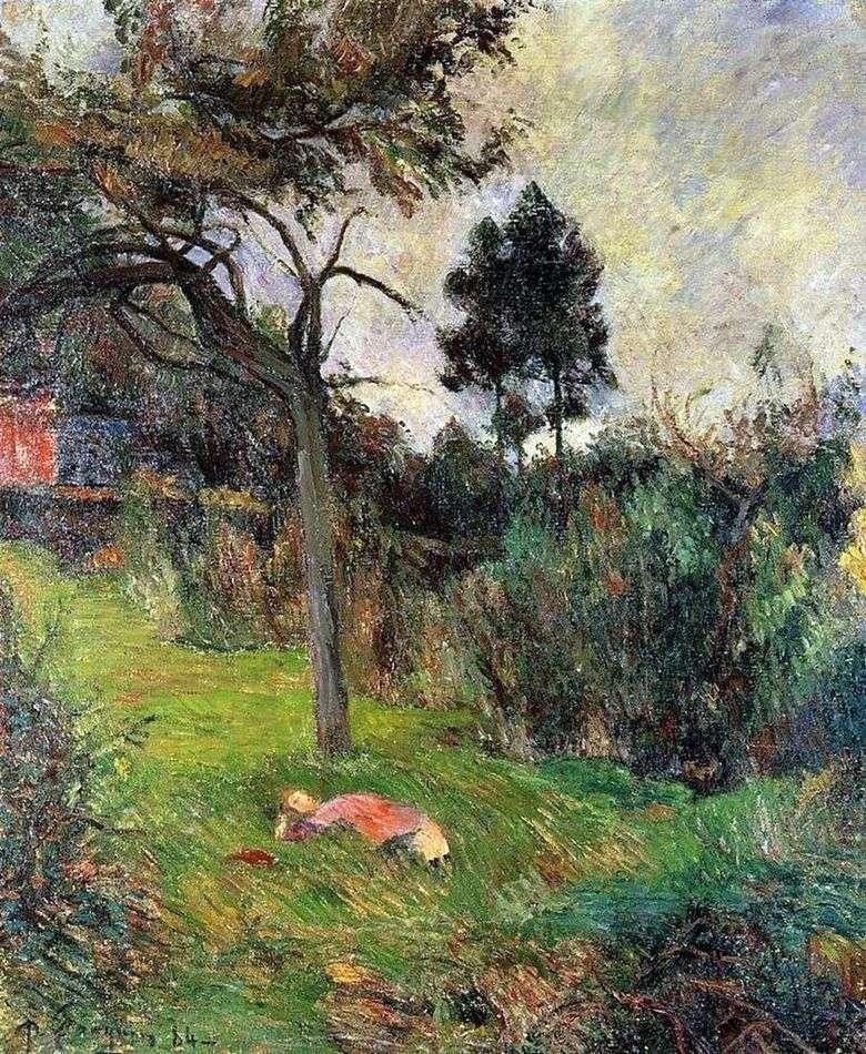 Mujer joven tumbada en la hierba   Paul Gauguin