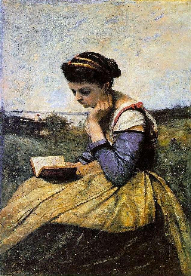 Mujer leyendo en un paisaje   Camille Corot