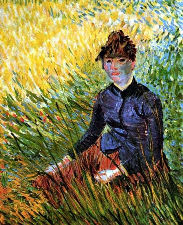 Mujer sentada en la hierba   Vincent van Gogh