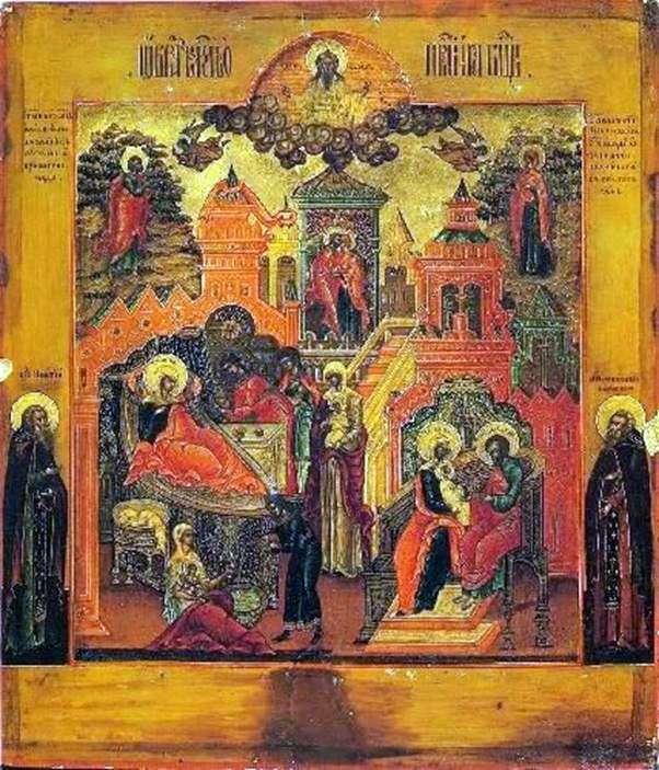 Navidad de Nuestra Señora, con dos santos en los campos