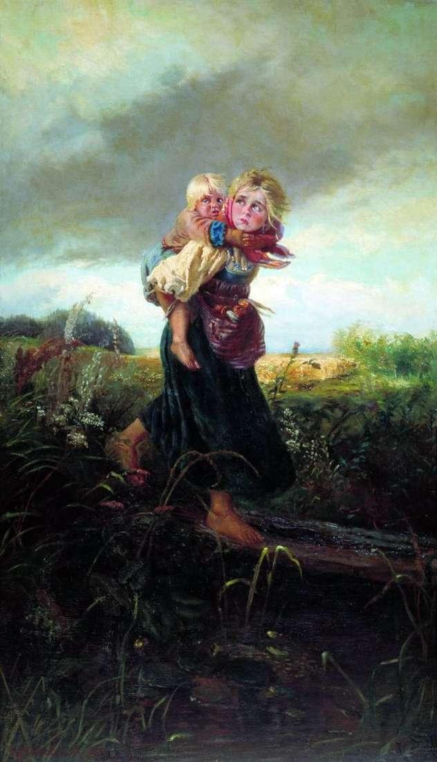 Niños corriendo de una tormenta eléctrica   Konstantin Makovsky