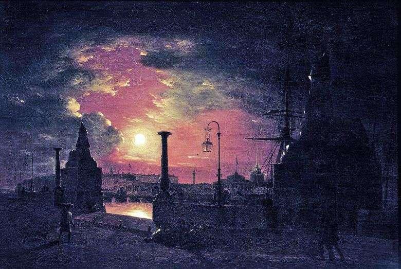 Noche de otoño en petersburgo. Muelle con esfinges egipcias en el río Neva por la noche   Maxim Vorobev