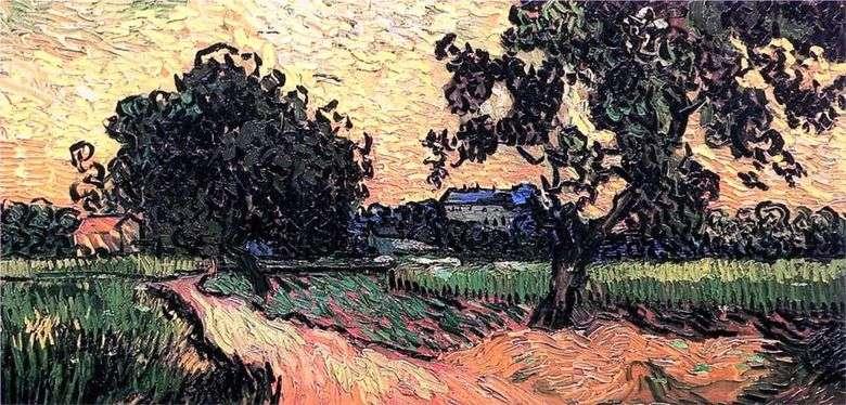 Paisaje con Chateau sobre la puesta del sol   Vincent Van Gogh