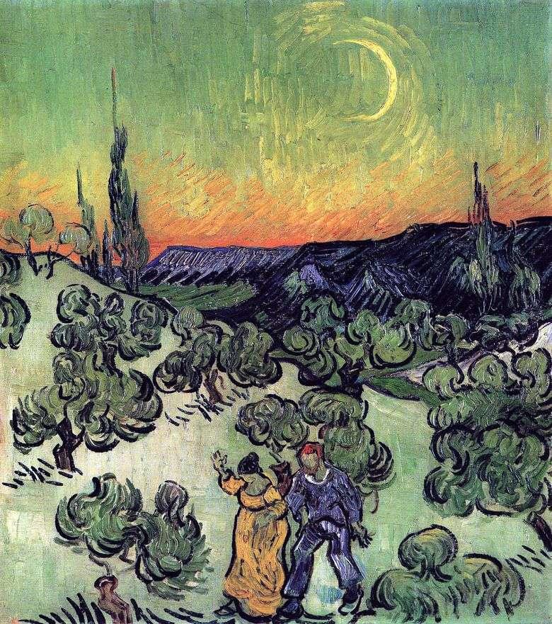 Paisaje con una pareja paseando y la media luna de la luna   Vincent van Gogh