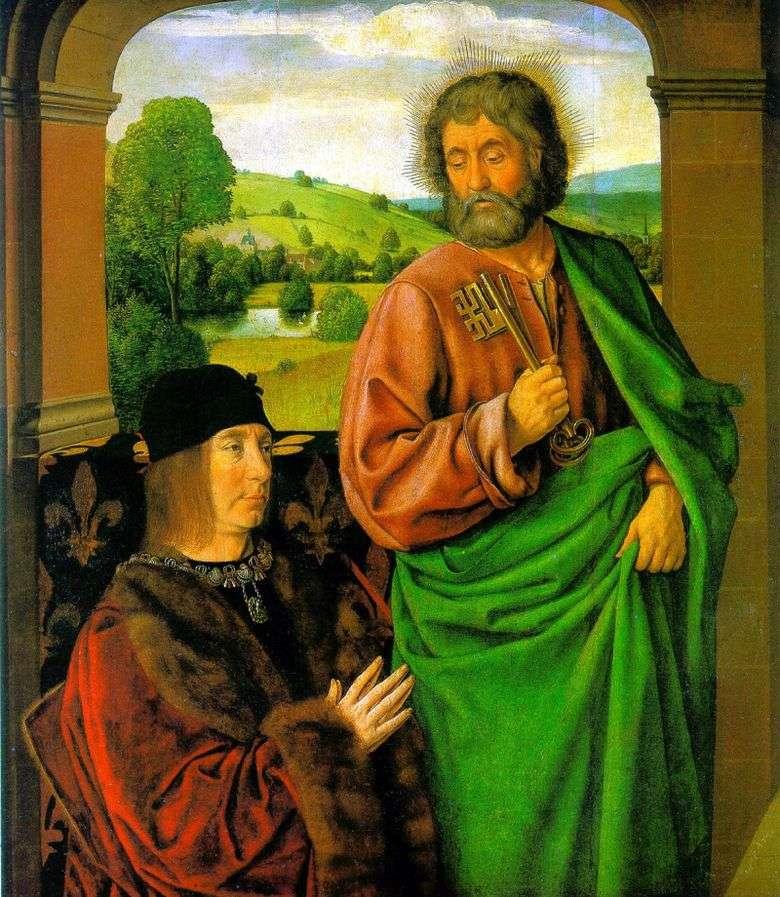 Pierre II, duque de Borbón con sv. patrón del apóstol Pedro   Jean Hey