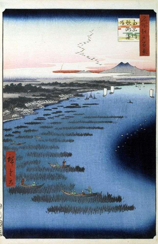 Playa Samezukaigan y Shinagawa Sur   Utagawa Hiroshige