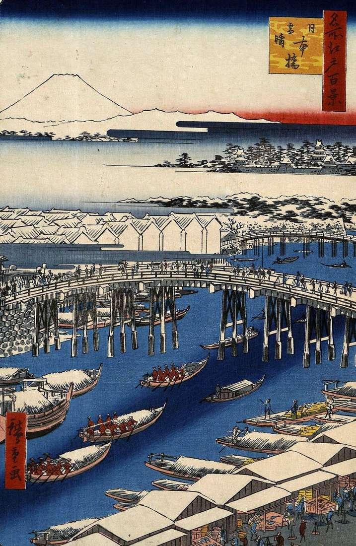 Puente de Nihonbashi en tiempo despejado después de una nevada   Utagawa Hiroshige