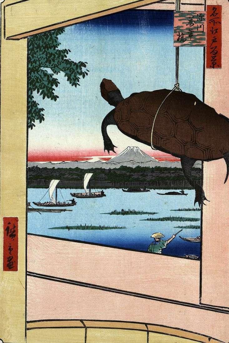Puente Mannambashi en Fukagawa   Utagawa Hiroshige