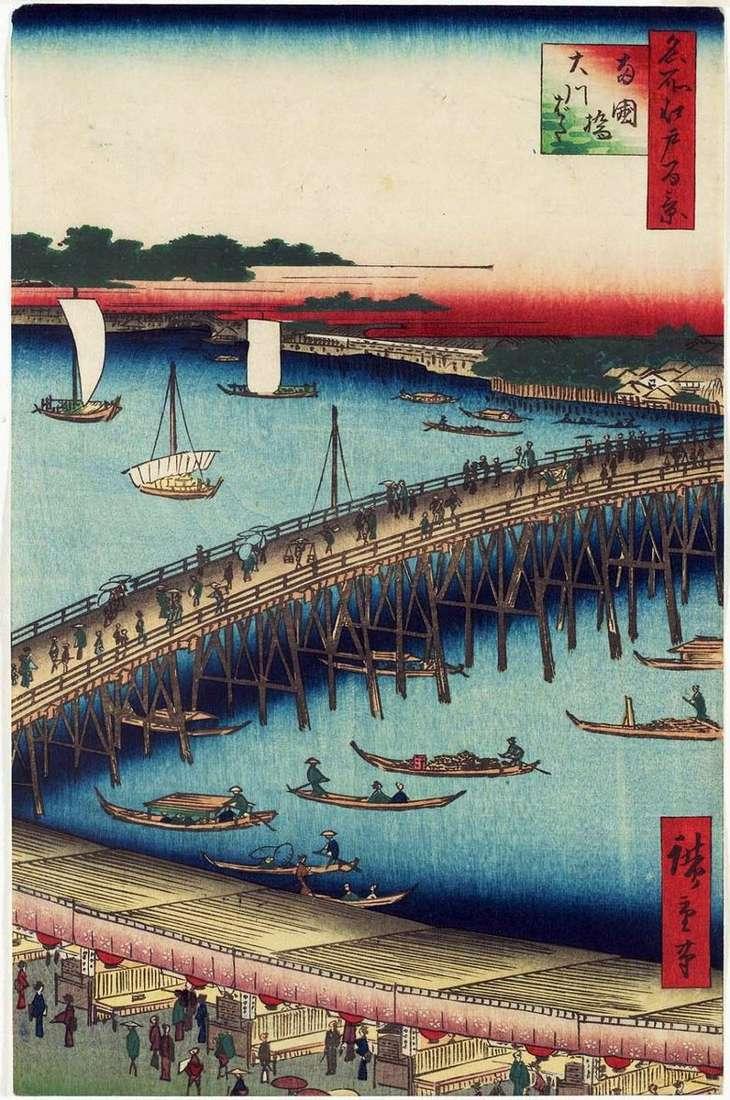 Puente Regokubashi y Terraplén Okavabata   Utagawa Hiroshige