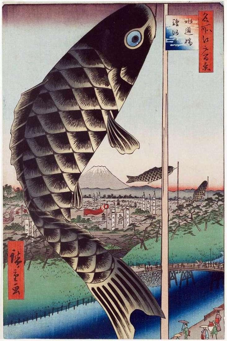 Puente Suydubashi en Surugadai   Utagawa Hiroshige