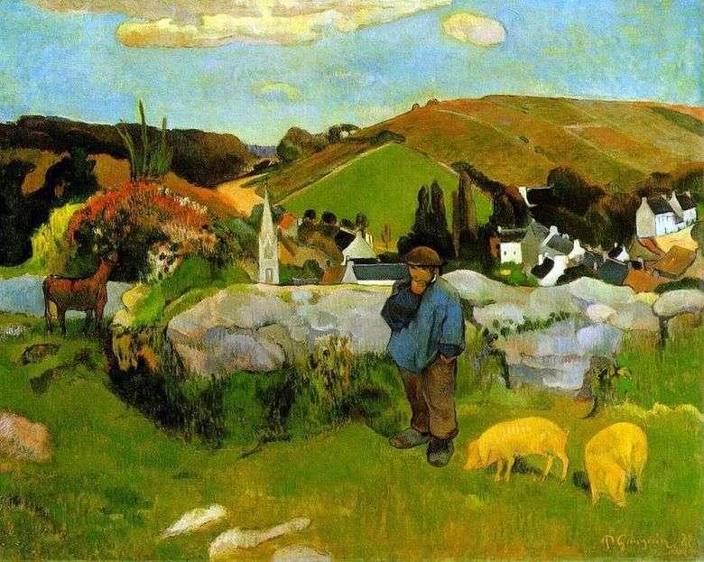 Rebaño de cerdo, Bretaña   Paul Gauguin