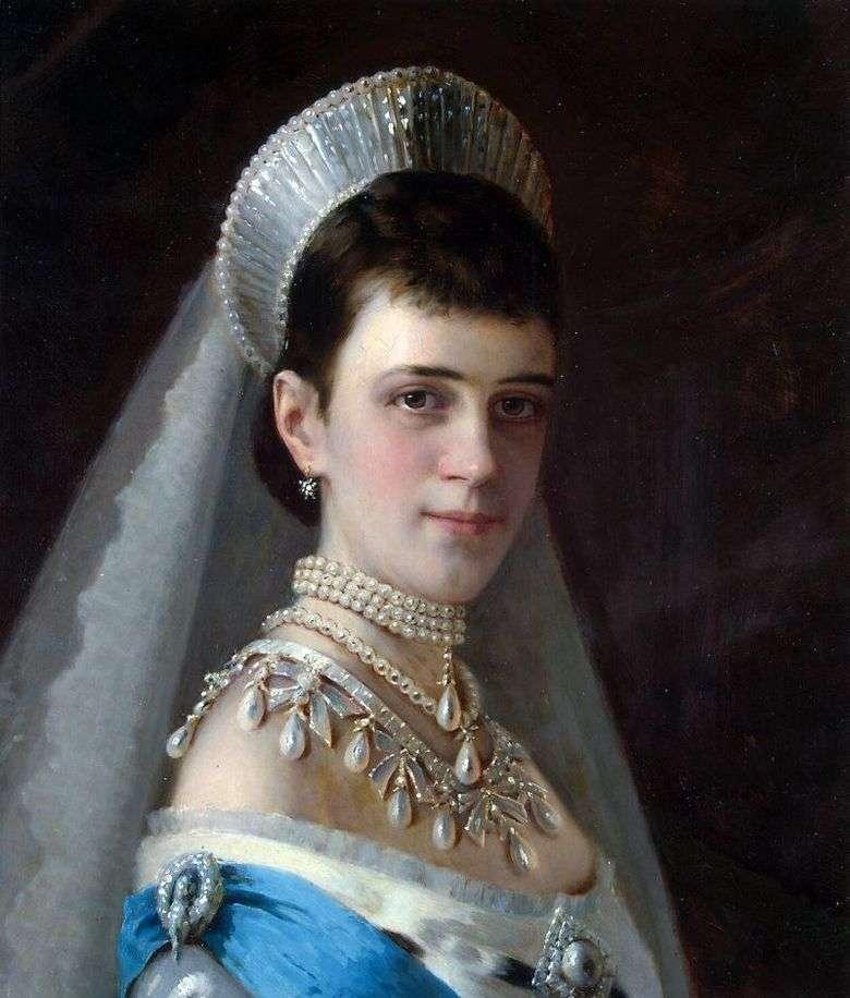 Retrato de la emperatriz Maria Feodorovna en un sombrero de perlas   Ivan Kramskoy