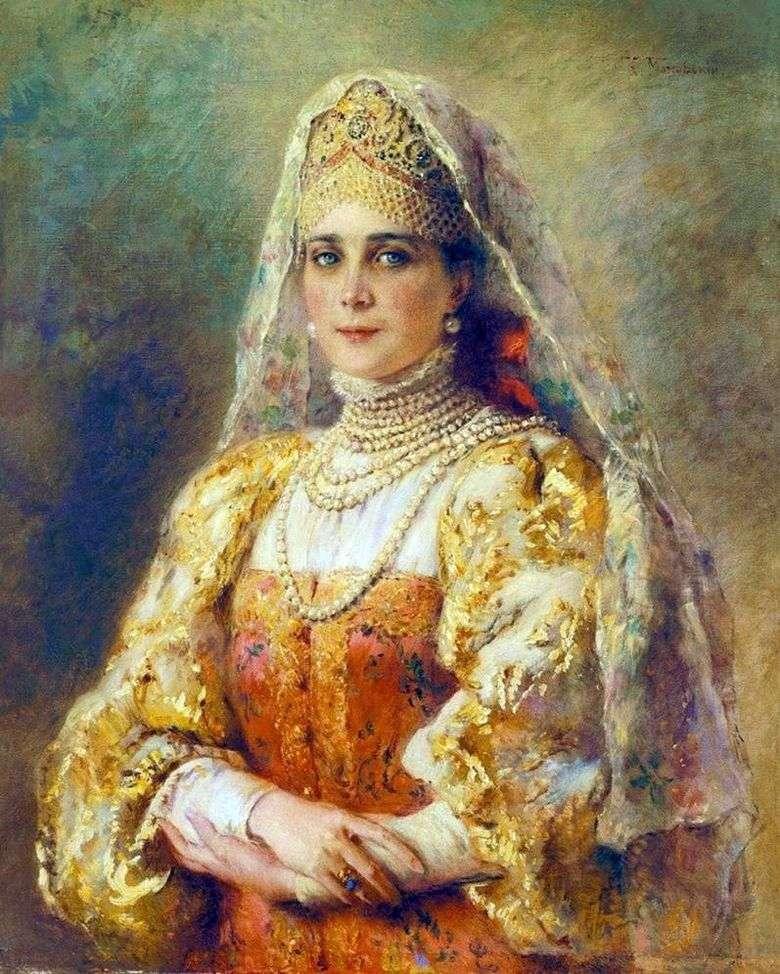 Retrato de la princesa Zinaida Nikolaevna Yusupova en traje ruso   Konstantin Makovsky