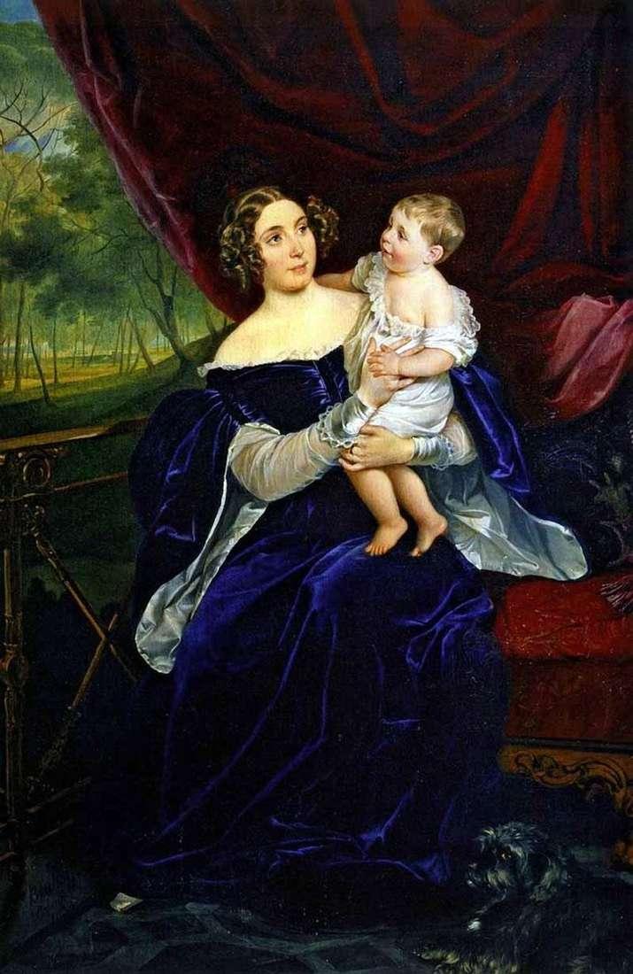 Retrato de O. I. Orlova Davydova con su hija   Karl Bryullov