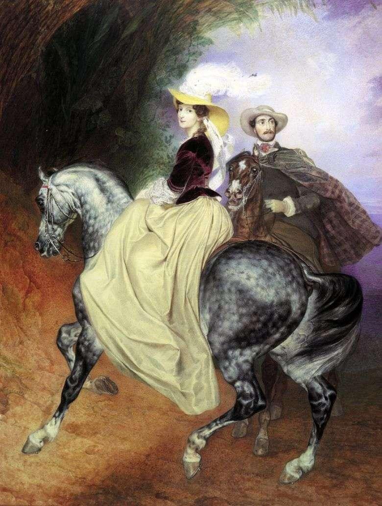 Retrato de pareja de E. Mussar y E. Mussar   Karl Bryullov