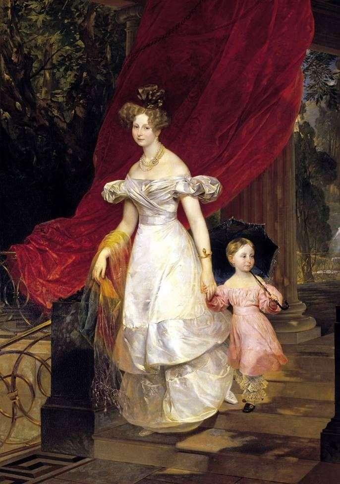 Retrato de vel. Príncipe Elena Pavlovna con su hija   Karl Bryullov
