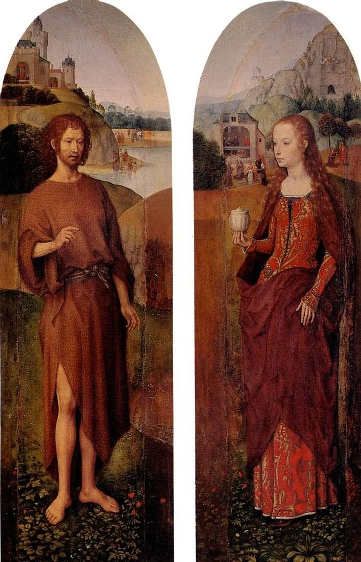 San Juan Bautista y Santa María Magdalena. Faja lateral tríptico   Hans Memling
