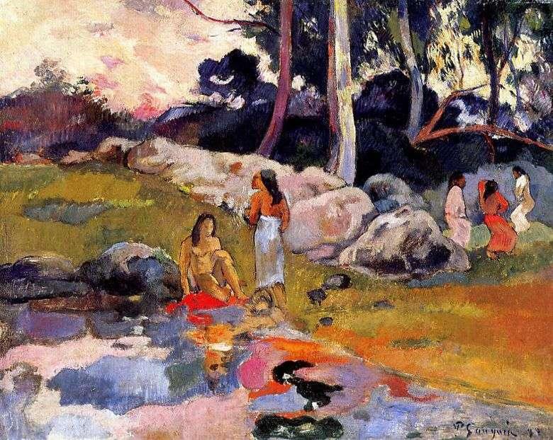 Tahitian por el río   Paul Gauguin