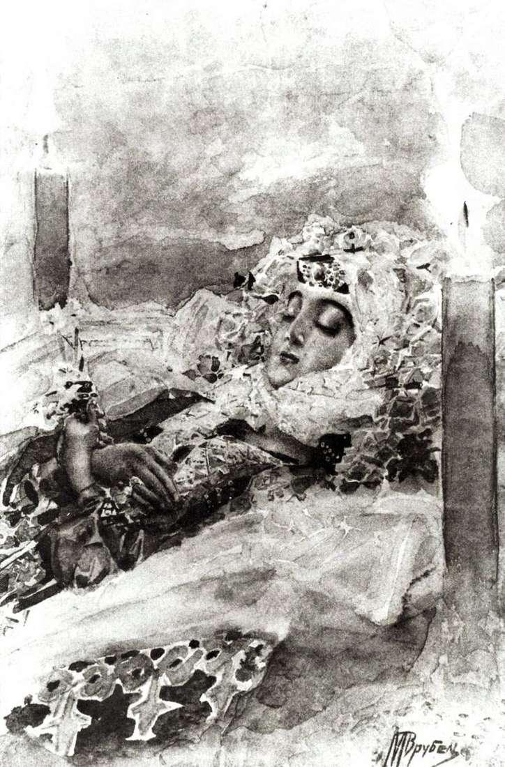 Tamara en el ataúd   Mikhail Vrubel