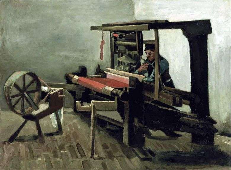 Tejedora con rueda giratoria, girada hacia el lado izquierdo del artista   Vincent Van Gogh