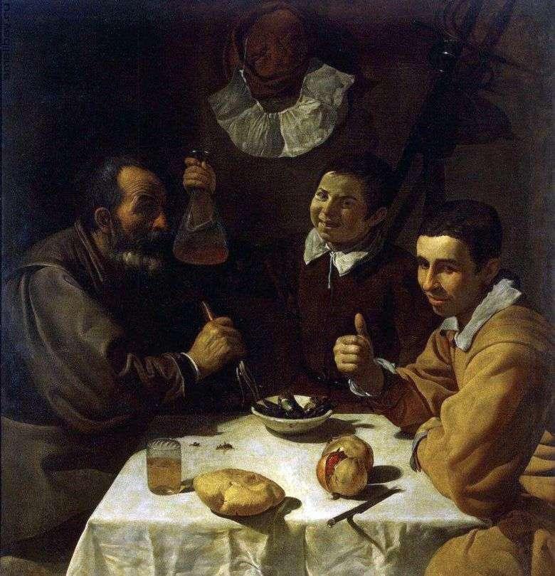 Tres hombres en la mesa   Diego Velásquez