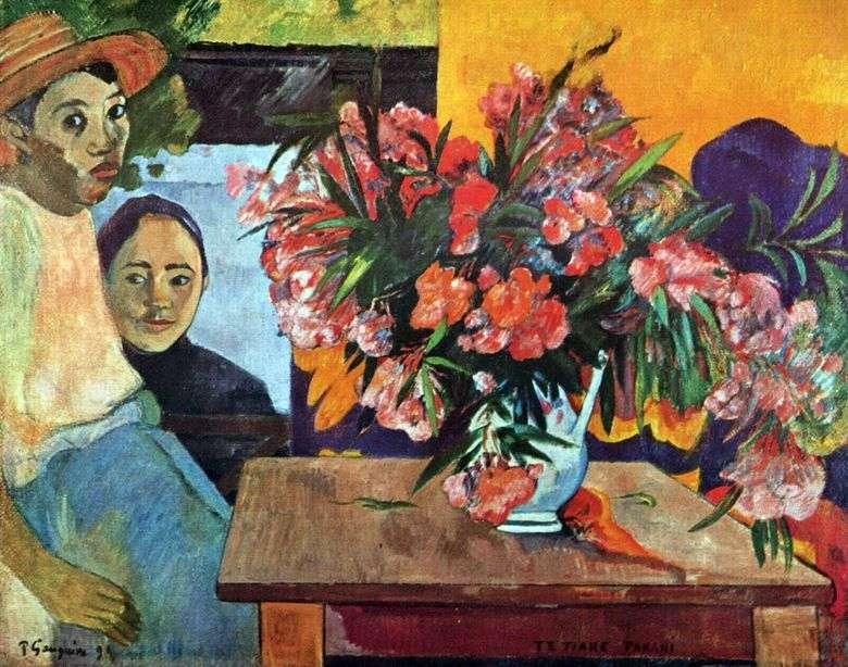 Un gran ramo de flores y niños tahitianos   Paul Gauguin